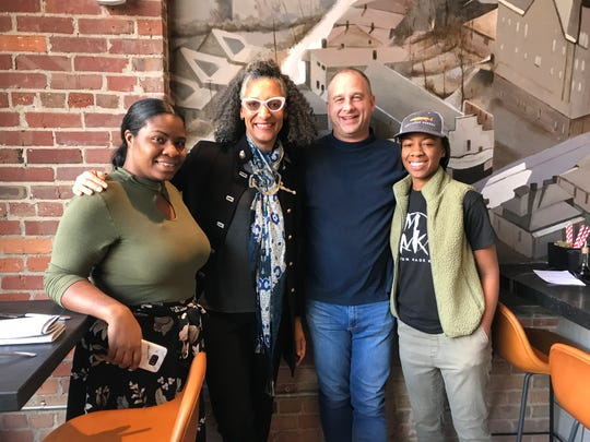 Carla Hall visited with Benne on Eagle staff a few days before the new restaurant opened. Benne will pay homage to her, and other top black female chefs, this month with special Sunday suppers.