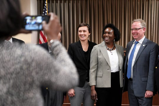Avril Pinder was unanimously voted to become Buncombe County's next county manager Tuesday, Feb. 5, 2019, after a roughly six-month search. Pinder will be the first person of color to hold the position and the fourth person to serve as county manager in less than two years.