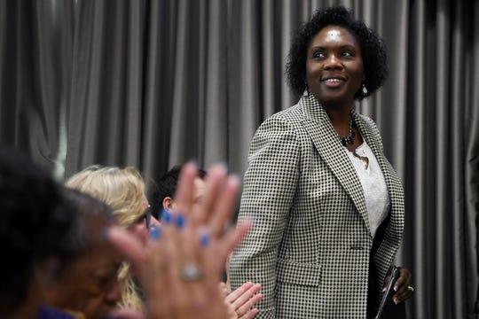 Avril Pinder was unanimously voted to become Buncombe County's next manager Tuesday, Feb. 5, 2019, after a roughly six-month search. Pinder will be the first person of color to hold the position and the fourth person to serve as county manager in less than two years.