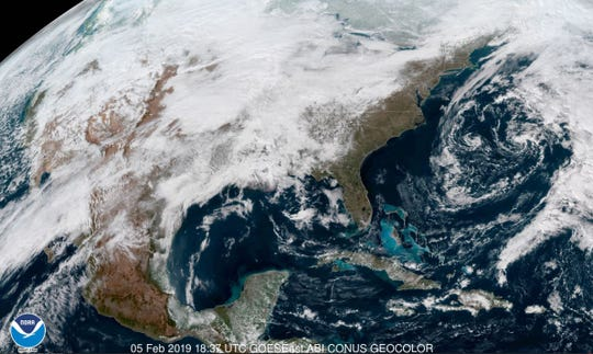 The United States, as seen from space. The jet stream is currently bending north over WNC, carrying with it to the region warm air from the Gulf of Mexico.