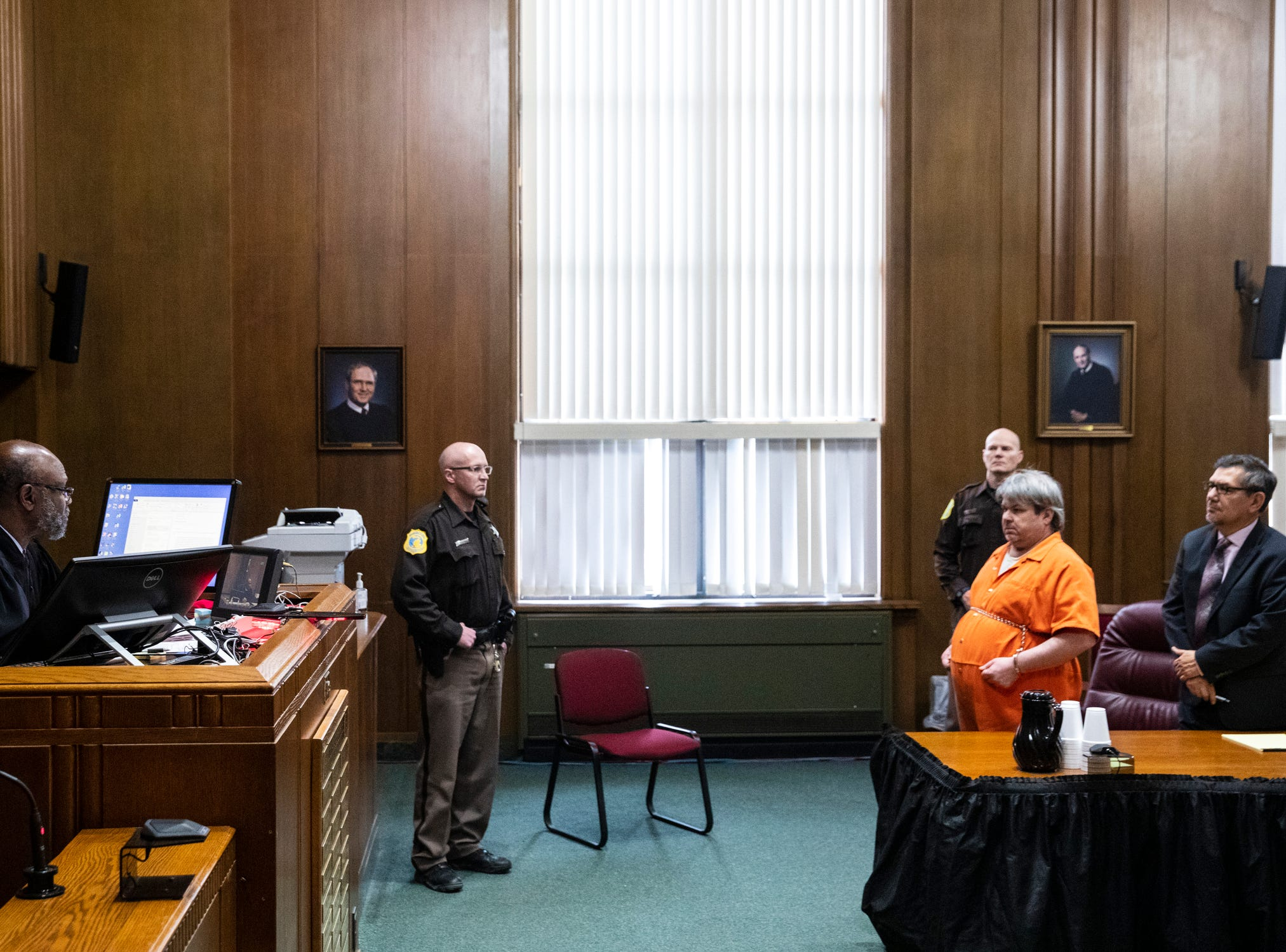 Jason Dalton stands in front of Judge Alexander C. Lipsey as he is sentenced to life in prison without possibility of parole for six counts of murder and several other charges at the Kalamazoo County Courthouse in Kalamazoo, Michigan on Tuesday, Feb. 5, 2019.