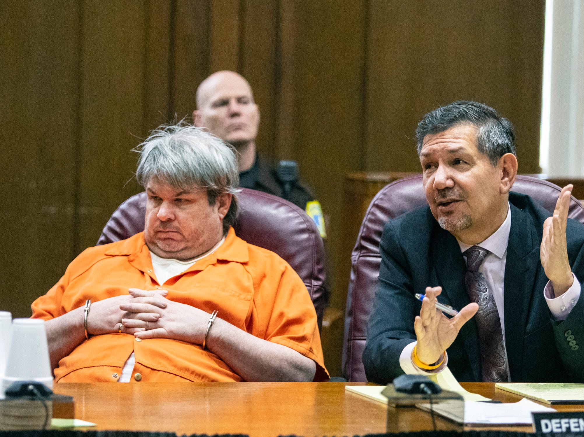 Defense attorney Eusebio Solis objects to a comment made by shooting survivor, Tiana Carruthers, during her victim impact statement before Jason Dalton, left, was sentenced to life in prison without the possibility of parole on six counts of murder and several other charges at the Kalamazoo County Courthouse in Kalamazoo on Tuesday, Feb. 5, 2019.