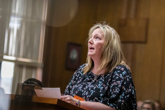 Laurie Smith, whose husband Rich and son Tyler, 17, were killed, addresses Jason Dalton before he was sentenced to life in prison without possibility of parole on six counts of murder and several other charges at the Kalamazoo County Courthouse in Kalamazoo, Michigan on Tuesday, Feb. 5, 2019.
