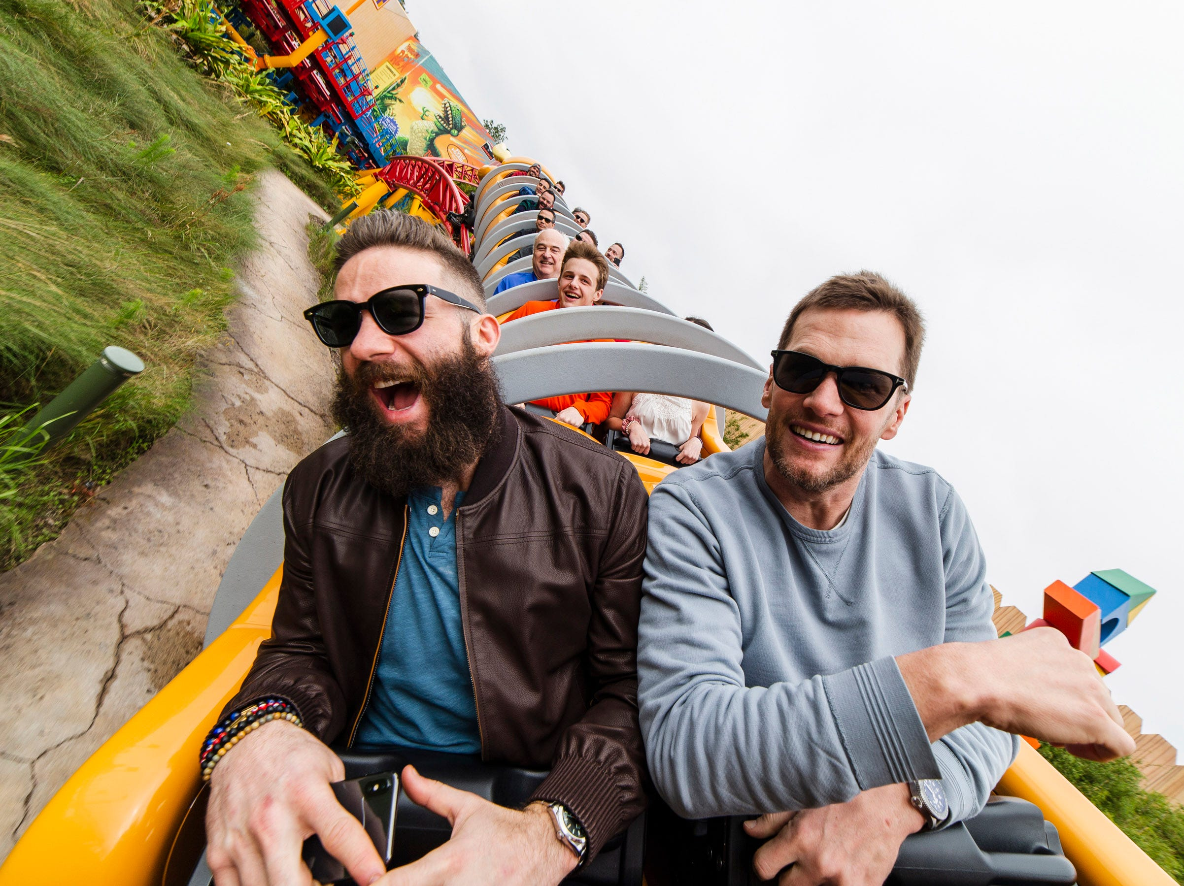 New England Patriots wide receiver Julian Edelman (left) and quarterbackTom Brady (right) celebrated their Super Bowl LIII victory Monday, Feb. 4, 2019, at Walt Disney World Resort in Lake Buena Vista, Fla. During their visit, the pair took a ride on the new Slinky Dog Dash in Toy Story Land at Disney's Hollywood Studios.