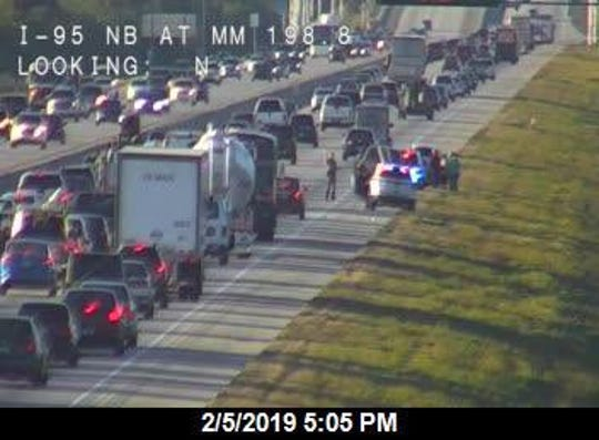 Interstate 95 traffic slowed near Cocoa after crash.