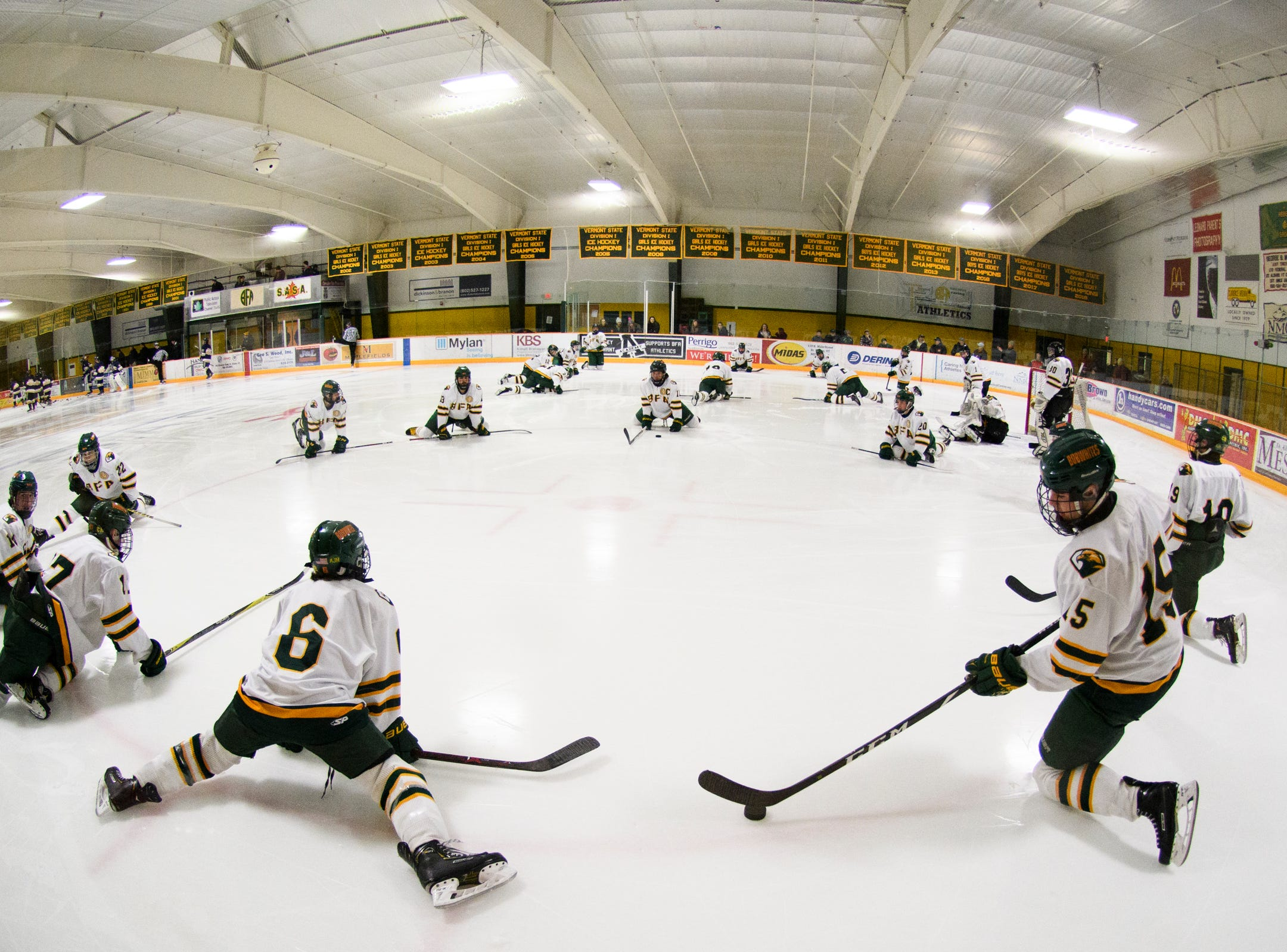 BFA warms up and stretches during the boys hockey game between the Essex Hornets and the BFA St. Albans Bobwhites at the Collins Perley sports complex on Monday night February 4, 2019 in St. Albans, Vermont.