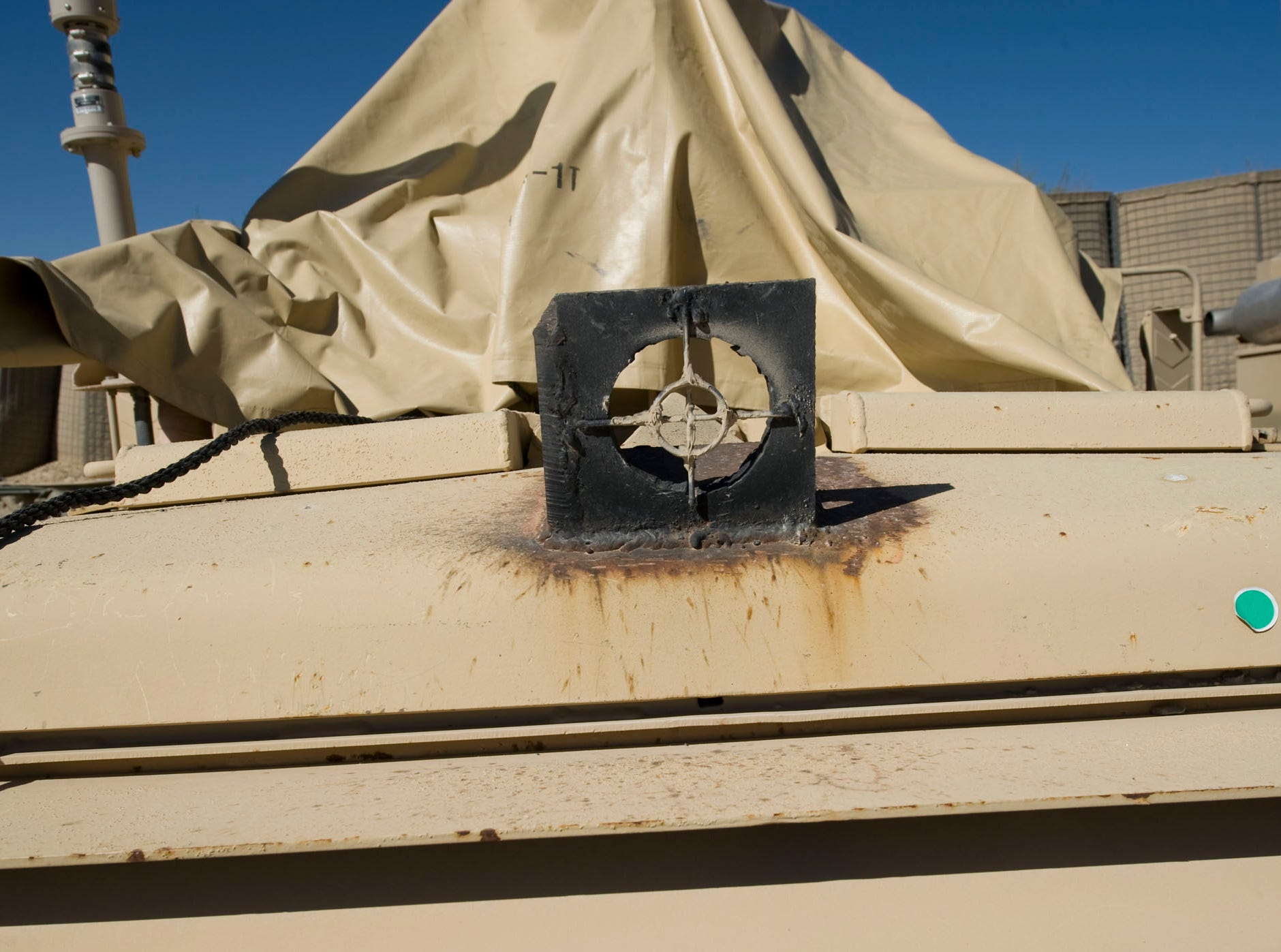 A soldier's handiwork adorns a patrol vehicle at Forward Operating Base Herrera in northeast Paktia Province in Afghanistan. The remote base is home to Vermont's Alpha Company, 3rd Battalion, 172nd Infantry (Mountain) as well as Airborne, Afghan National Army, Border Patrol and other Afghan support and is less than 8 miles from the border of Pakistan.