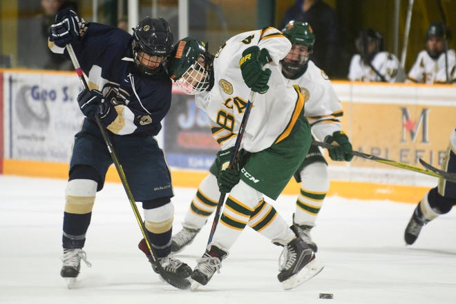 Essex's Maxwell Line (19) and BFA's Colby Morin (4) battle for the puck during the boys hockey game between the Essex Hornets and the BFA St. Albans Bobwhites at the Collins Perley sports complex on Monday night February 4, 2019 in St. Albans, Vermont.