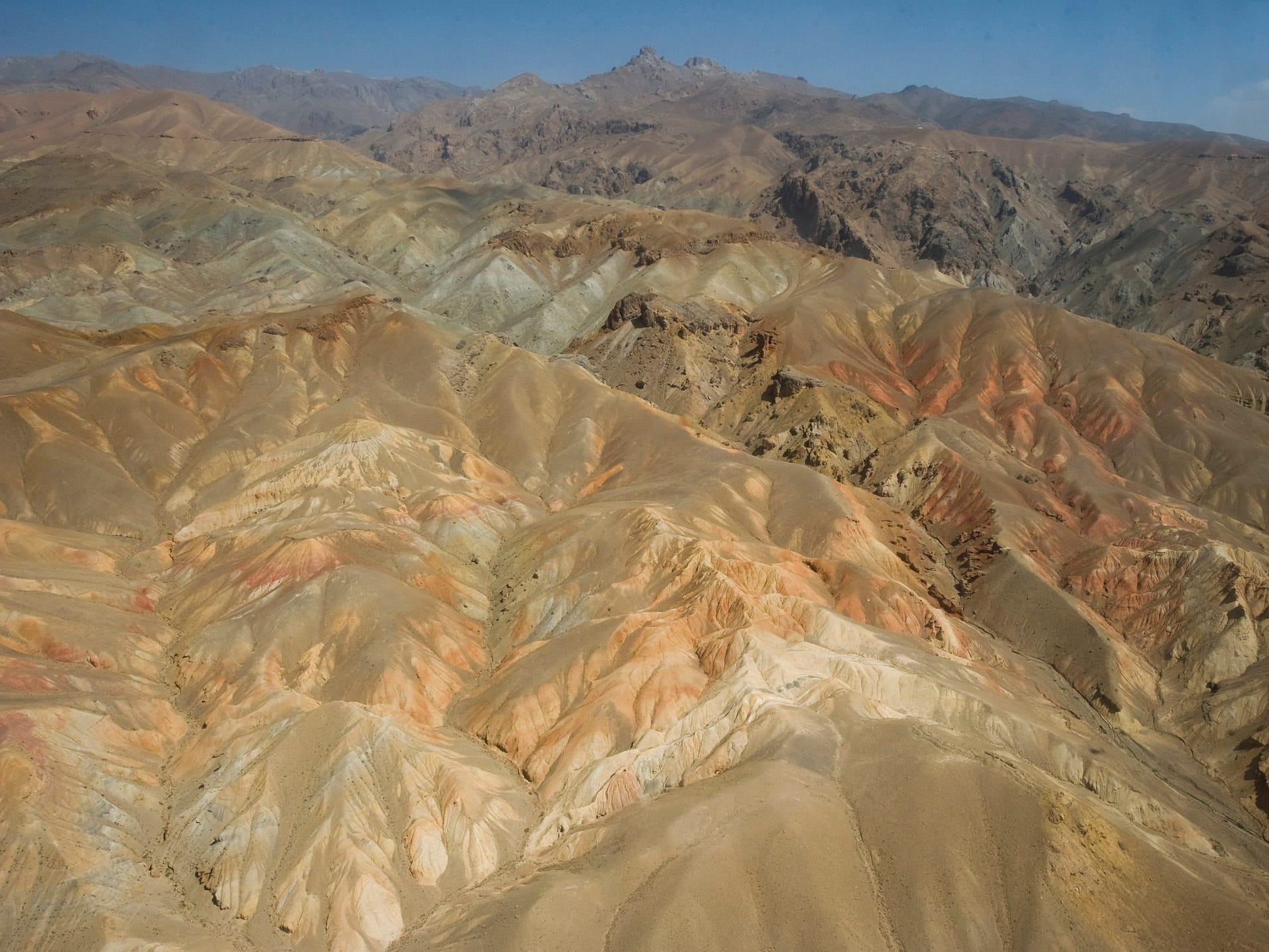 The view of the Afghanistan landscape taken from a Black Hawk helicopter on Friday, September 10, 2010, on route from Bagram Airfield near Kabul to Forward Operating Base Kiwi in Bamyan Province in the center of the country. The area is considered one of the most peaceful in the country.