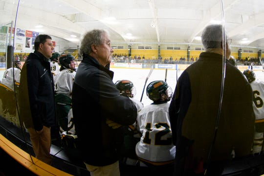 The BFA-St. Albans bench watched the action on the ice during the boys hockey game between the Essex Hornets and the BFA St. Albans Bobwhites at the Collins Perley sports complex on Monday night February 4, 2019 in St. Albans, Vermont.
