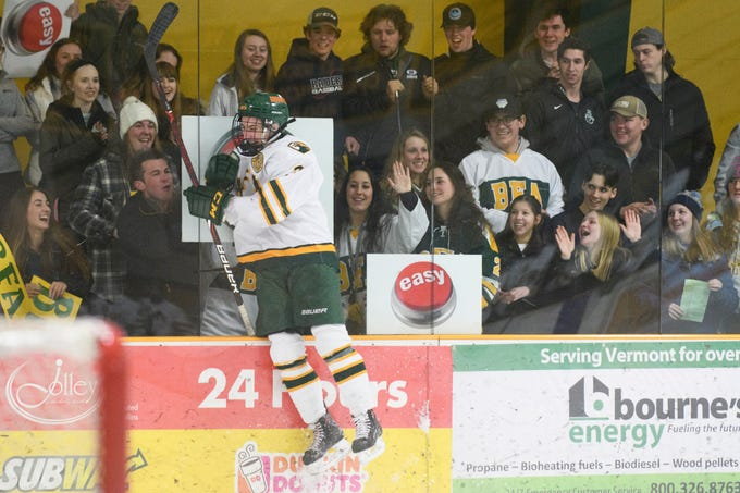 BFA's Matt Merrill (3) celebrates a goal with the student section during the boys hockey game between the Essex Hornets and the BFA St. Albans Bobwhites at the Collins Perley sports complex on Monday night February 4, 2019 in St. Albans, Vermont.