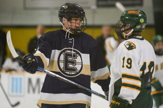 Essex's Sam Gibbs (6) and BFA's Mason Yandow (19) talk to each other during the boys hockey game between the Essex Hornets and the BFA St. Albans Bobwhites at the Collins Perley sports complex on Monday night February 4, 2019 in St. Albans, Vermont.