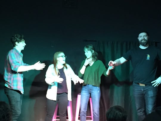 "From left to right, improv comedians Bryan Parmelee, Jenna Emerson, Jenna Pacitto and Daniel Trigg perform in ""Dubious Advice"" at Revelry Theater in Burlington on Feb. 2, 2019."