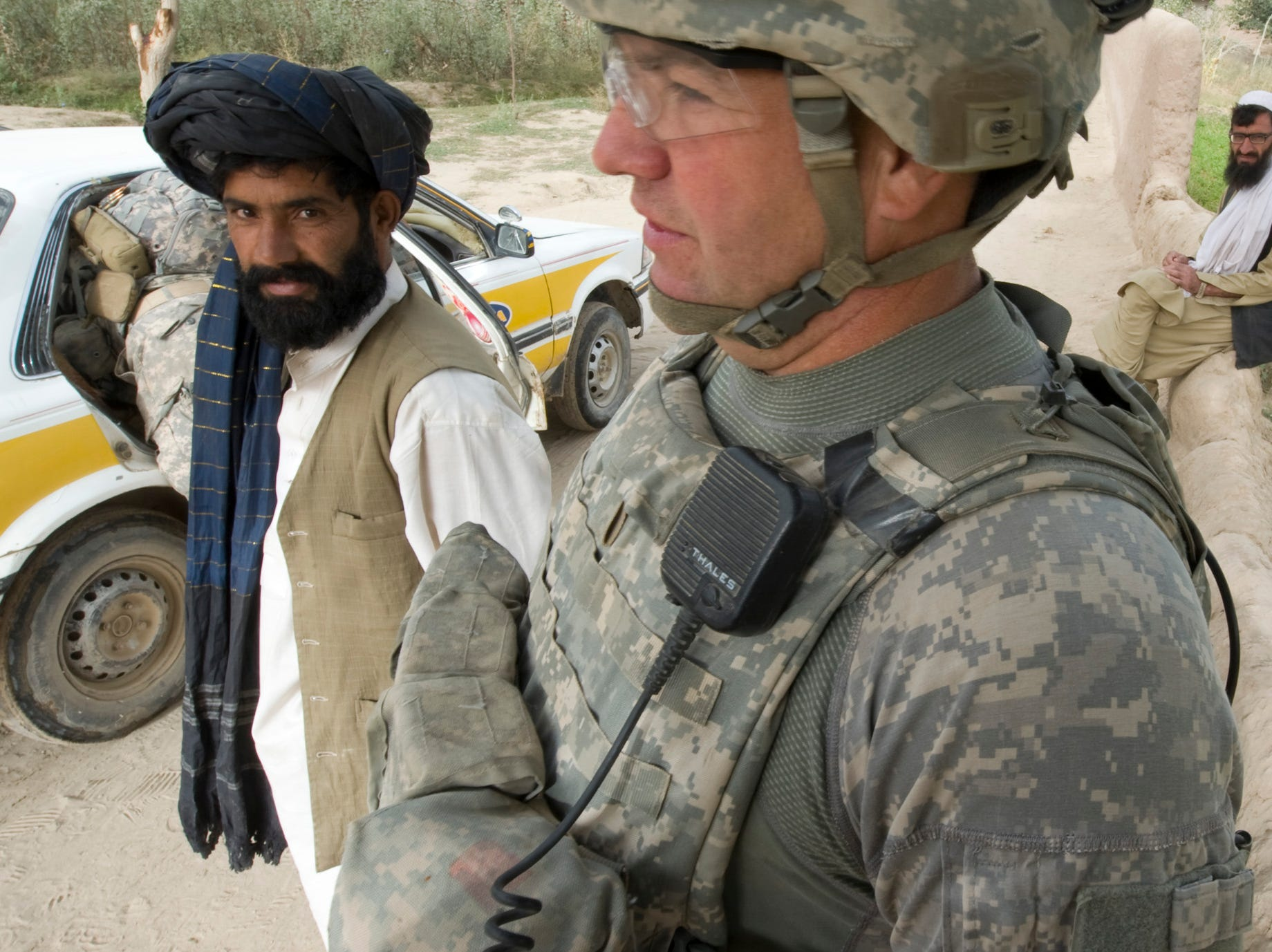 Vermont National Guard Sgt. 1st Class Mark Dailey of Rutland, Vt. oversees a security checkpoint during a patrol by the 3rd Platoon of Delta Company in a village in Rahman Keyhl in southern Paktia Province on Wednesday, September 15, 2010. Stationed in a new Afghan Combat Outpost nearby, the area hasn't seen a consistent U.S. military presence until now.