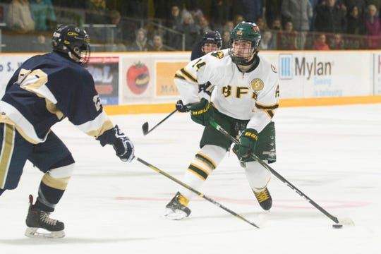 BFA's Colby Brouillette (14) looks to take a shot during the boys hockey game between the Essex Hornets and the BFA St. Albans Bobwhites at the Collins Perley sports complex on Monday night February 4, 2019 in St. Albans, Vermont.