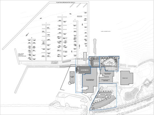 The new Burlington Harbor Marina is designed to shelter about 160 boats behind a floating, wave-calming breakwater, as seen in this plan oriented with north to the right. The entrance to the new facility will lie between the municipal fishing pier and the U.S. Coast Guard station.