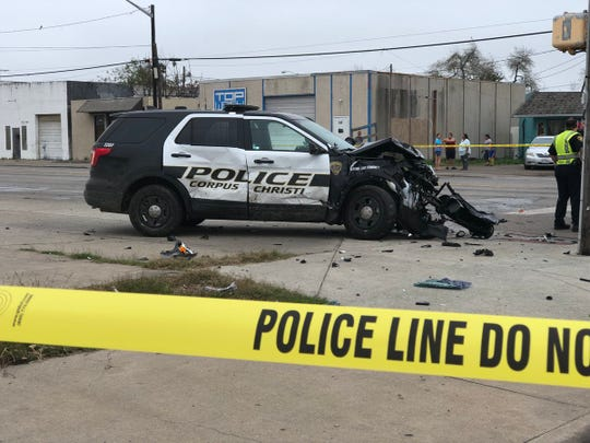 A Corpus Christi police patrol unit has heavy damage to its front end following an accident on Port Avenue the morning of Tuesday, Feb. 5, 2019.