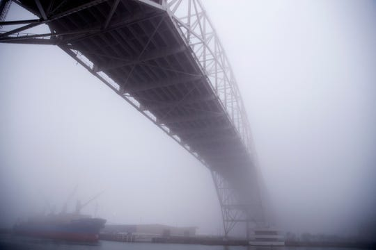 Fog envelopes the Harbor Bridge in Corpus Christi on Tuesday, February 5, 2019.