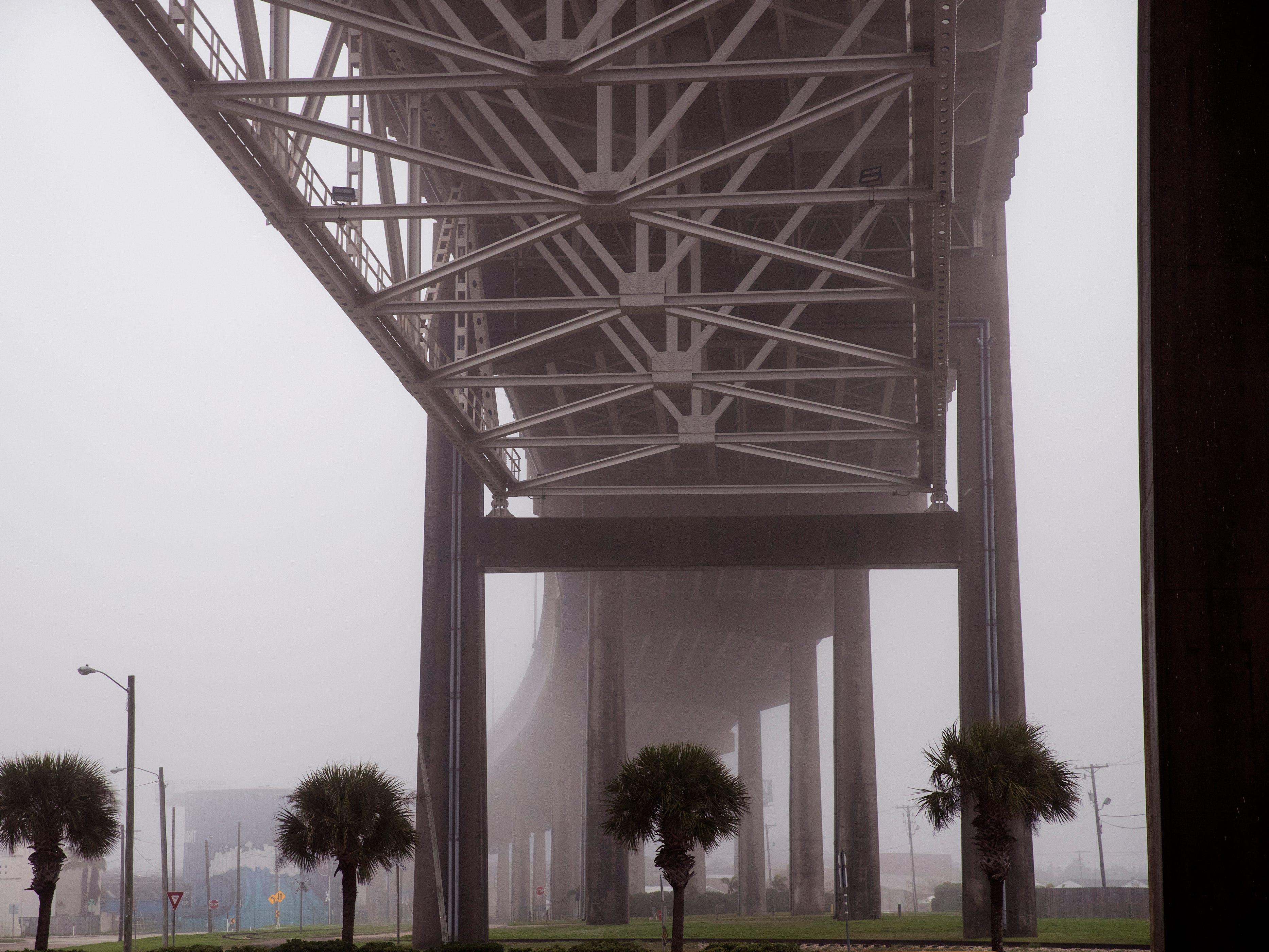 Fog envelopes the Harbor Bridge in Corpus Christi on Tuesday, February 5, 2019.