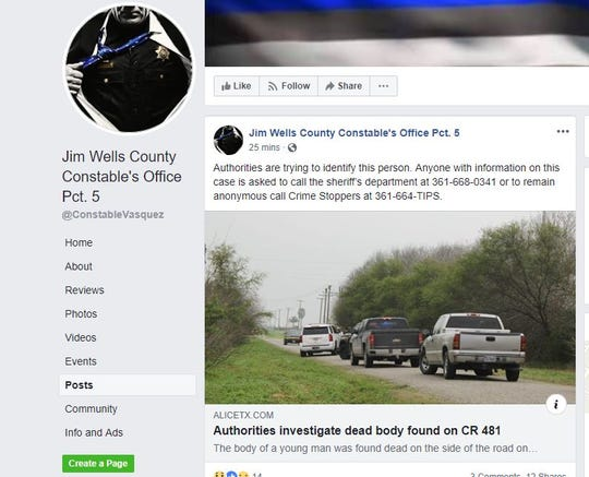 Jim Wells County Constable's Office Pct. 5 made a Facebook post asking for the community's help in identifying a man found dead on the side of County Road 481 in Jim Wells County on Tuesday, Feb. 5, 2019.