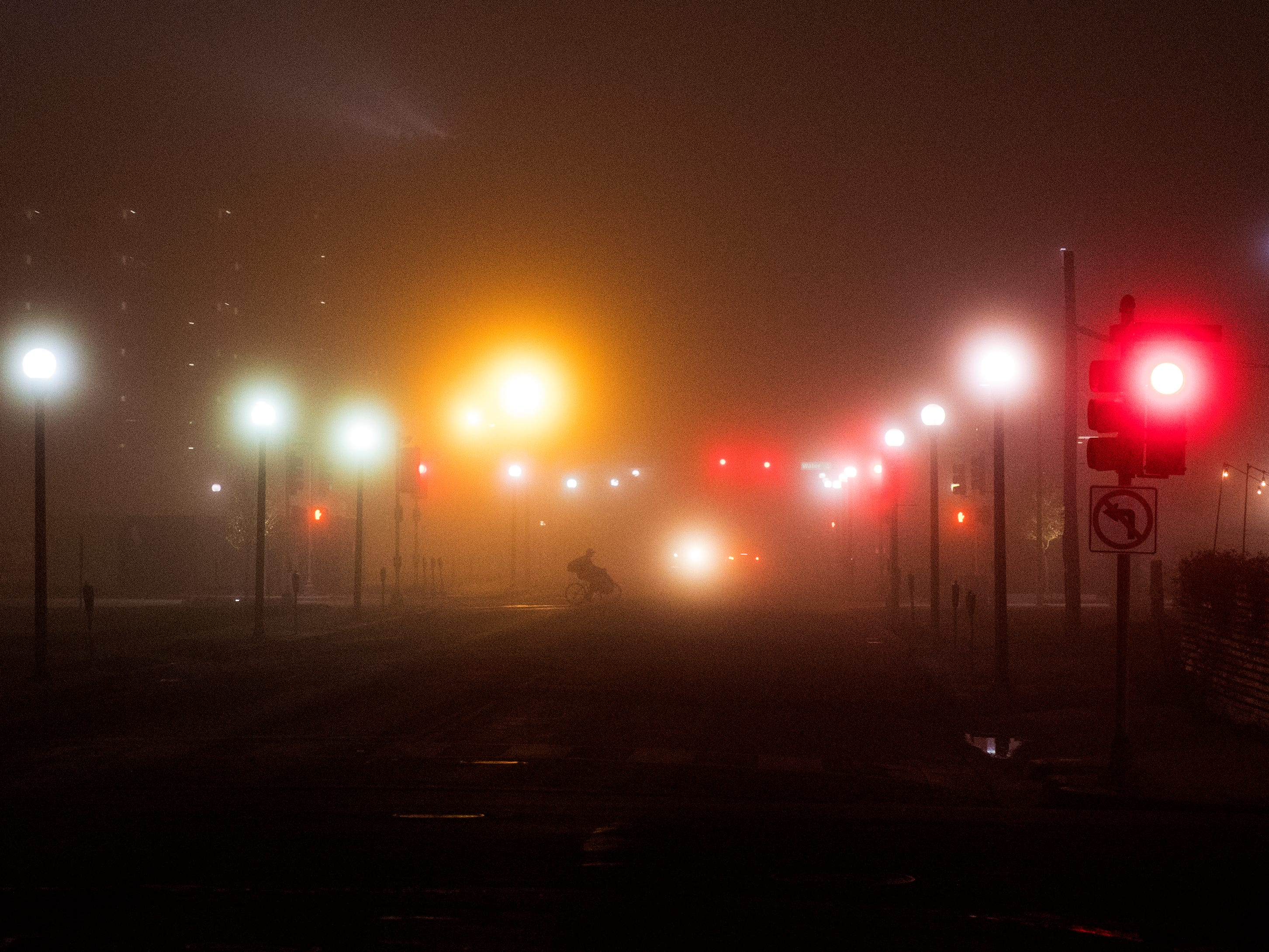 Downtown Corpus Christi was shrouded in fog on Monday, February 4, 2019.