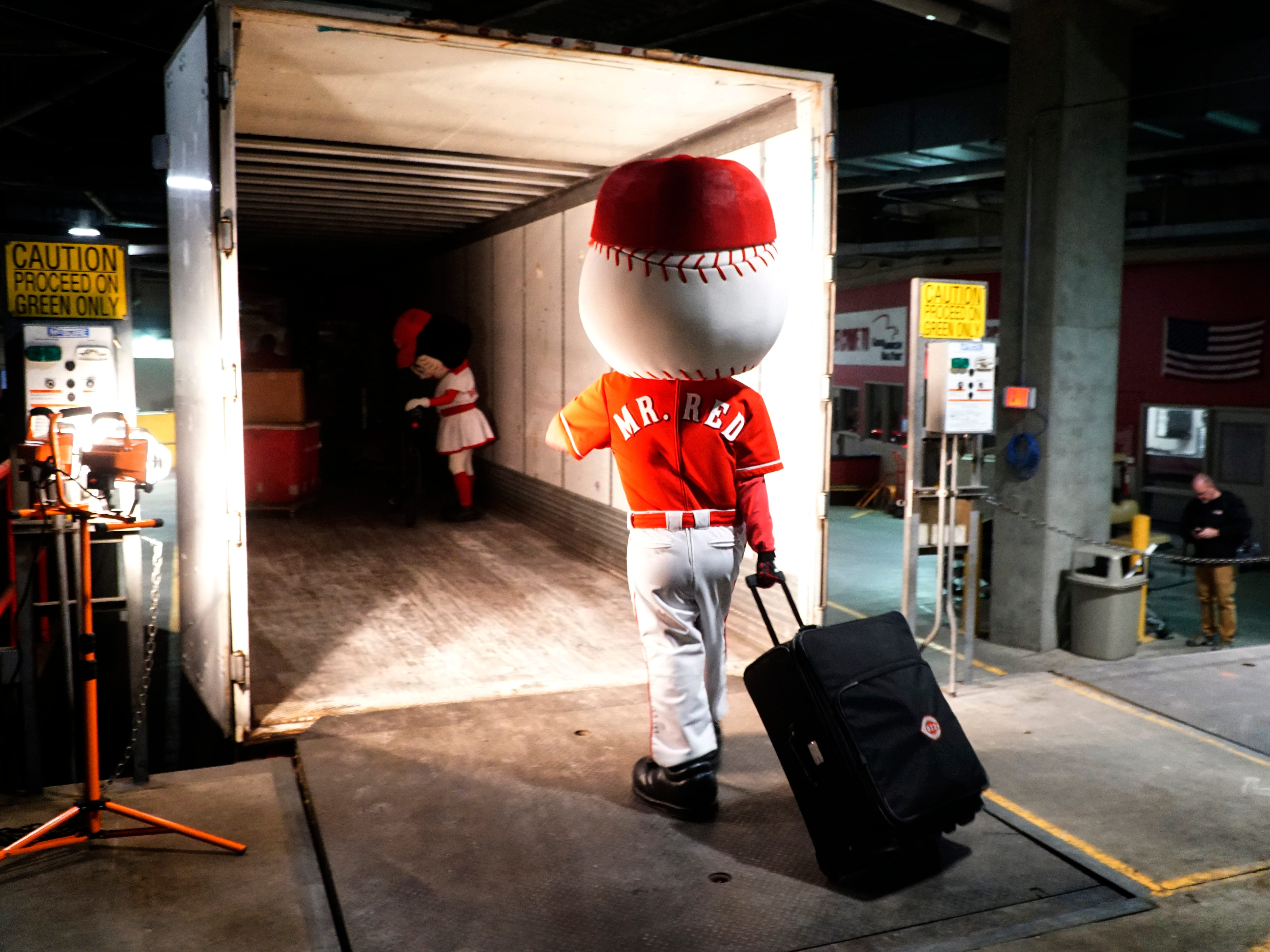 The Cincinnati Reds' mascots Rosie Red and Mr. Red help the team pack for Spring Training at Great American Ball Park, Tuesday, Feb. 5, 2019.
