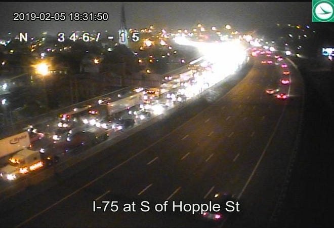 """Congestion can be seen on southbound I-75 on Ohio Department of Transportation cameras. Cincinnati Police say a man """"appears to have jumped"""" from the Western Hills Viaduct onto southbound I-75."""