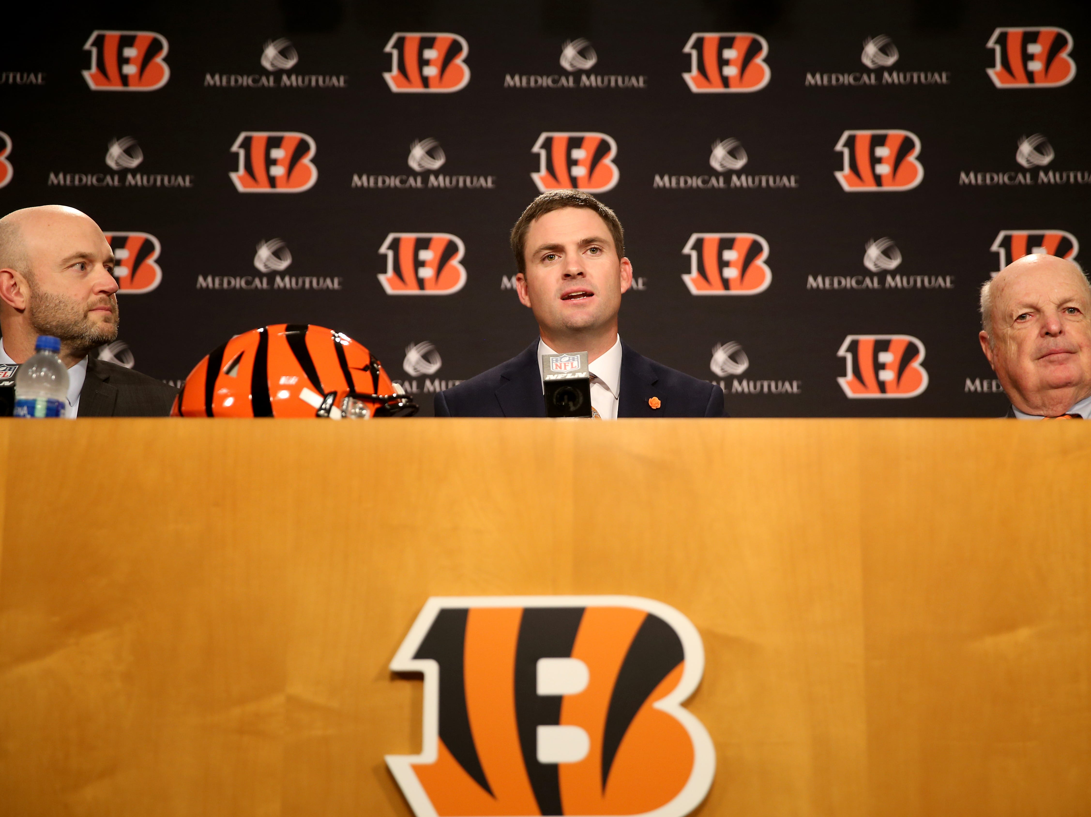 From left: Cincinnati Bengals director of player personnel Duke Tobin, head coach Zac Taylor and team president Mike Brown speak at a press conference, naming Taylor as the10th head coach in Cincinnati Bengals team history, Tuesday, Feb. 5, 2019, at Paul Brown Stadium in Cincinnati.