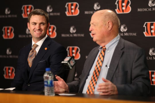 Cincinnati Bengals head coach Zac Taylor, left, listens to team president Mike Brown speak at a press conference, Tuesday, Feb. 5, 2019, at Paul Brown Stadium in Cincinnati. Taylor was named the 10th head coach in Cincinnati Bengals team history.
