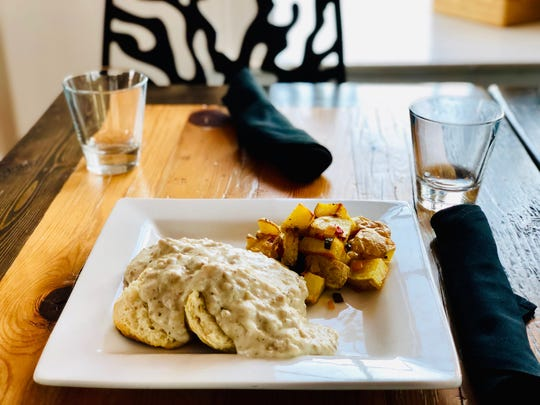 Biscuits and Gravy from the brunch menu at The Birch in Terrace Park