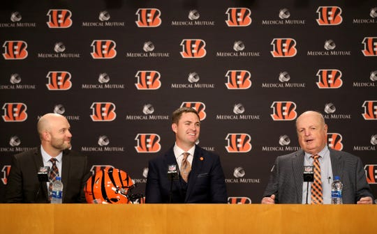 From left: Cincinnati Bengals director of player personnel Duke Tobin, head coach Zac Taylor and team president Mike Brown speak at a press conference, naming Taylor as the 10th head coach in Cincinnati Bengals team history, Tuesday, Feb. 5, 2019, at Paul Brown Stadium in Cincinnati.