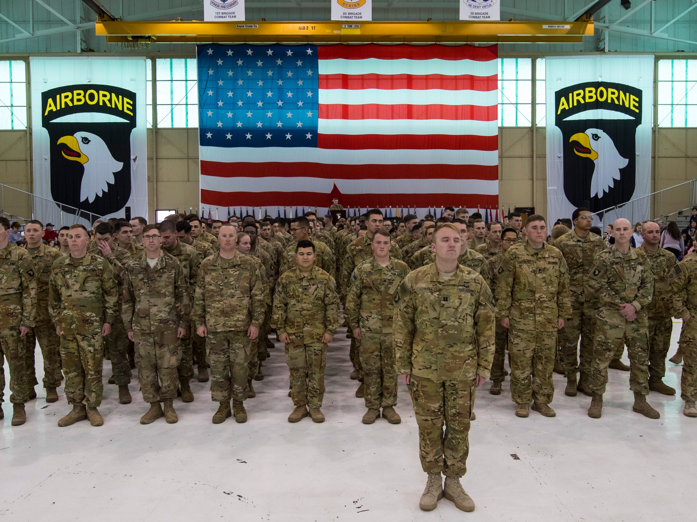 Members of the 101st Combat Aviation Brigade stand in formation during a welcome home ceremony for them at Fort Campbell in Clarksville on Tuesday, Feb. 5, 2019. The soldiers were returning from a nine-month deployment to Afghanistan.