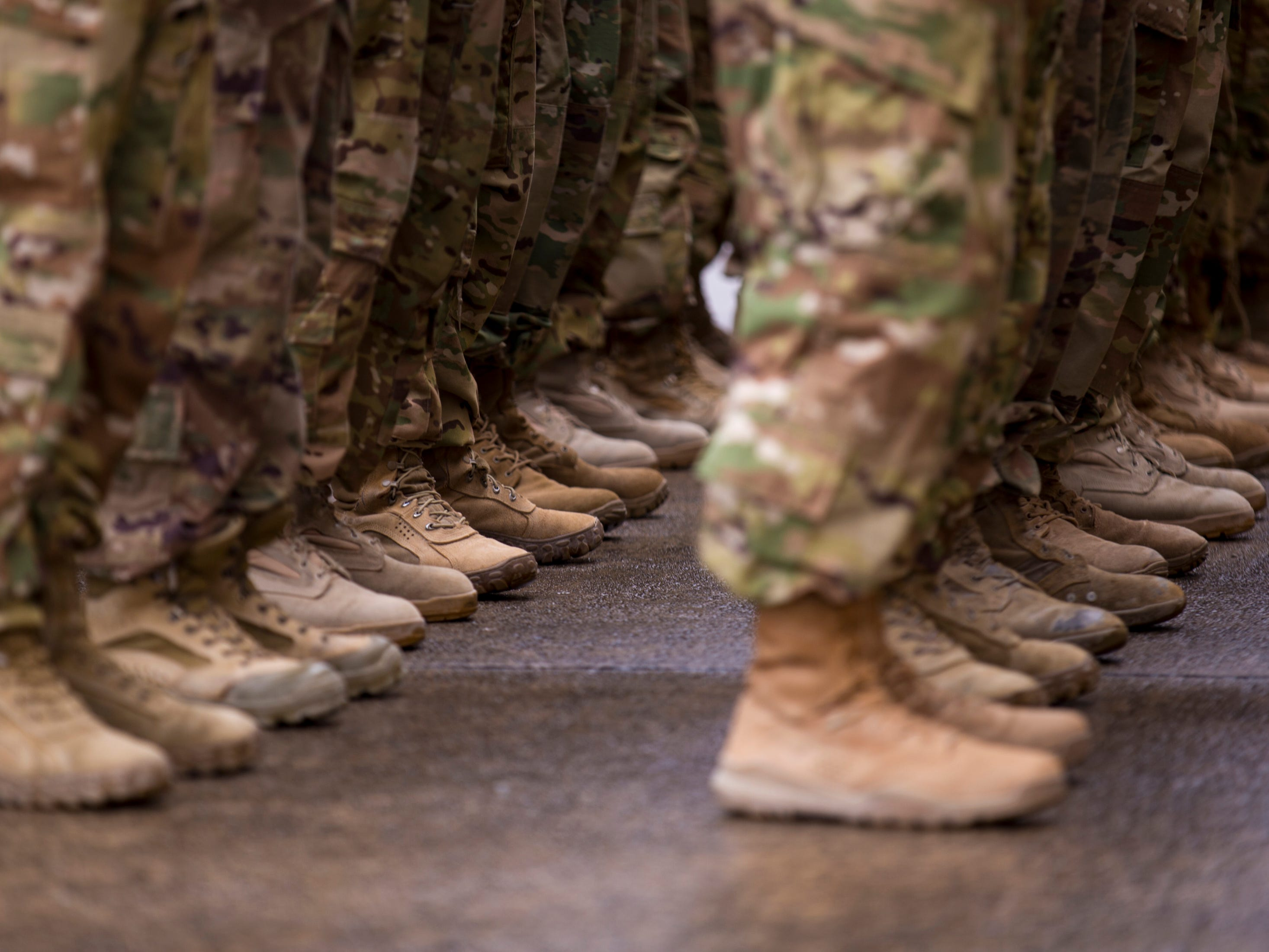 Soldiers stand in formation during the welcome home ceremony for members of the 101st Combat Aviation Brigade at Fort Campbell in Clarksville on Tuesday, Feb. 5, 2019. The soldiers were returning from a nine-month deployment to Afghanistan.
