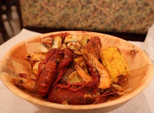 A seafood boil from the Cajun Crab.