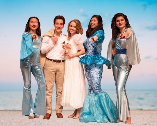 """Montgomery High School presents """"Mama Mia"""" Feb. 22 and 23 with Kelly Shao as Tanya, Jack Haftel as Sky, Mary Sissler as Sophie, Bella Juhaeri as Donna and Jessie Smires as Rosie."""
