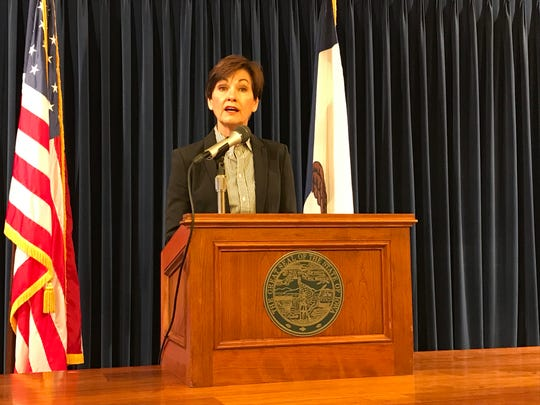 Gov. Kim Reynolds speaks to reporters at a news conference on Tuesday, Feb. 5, 2019.