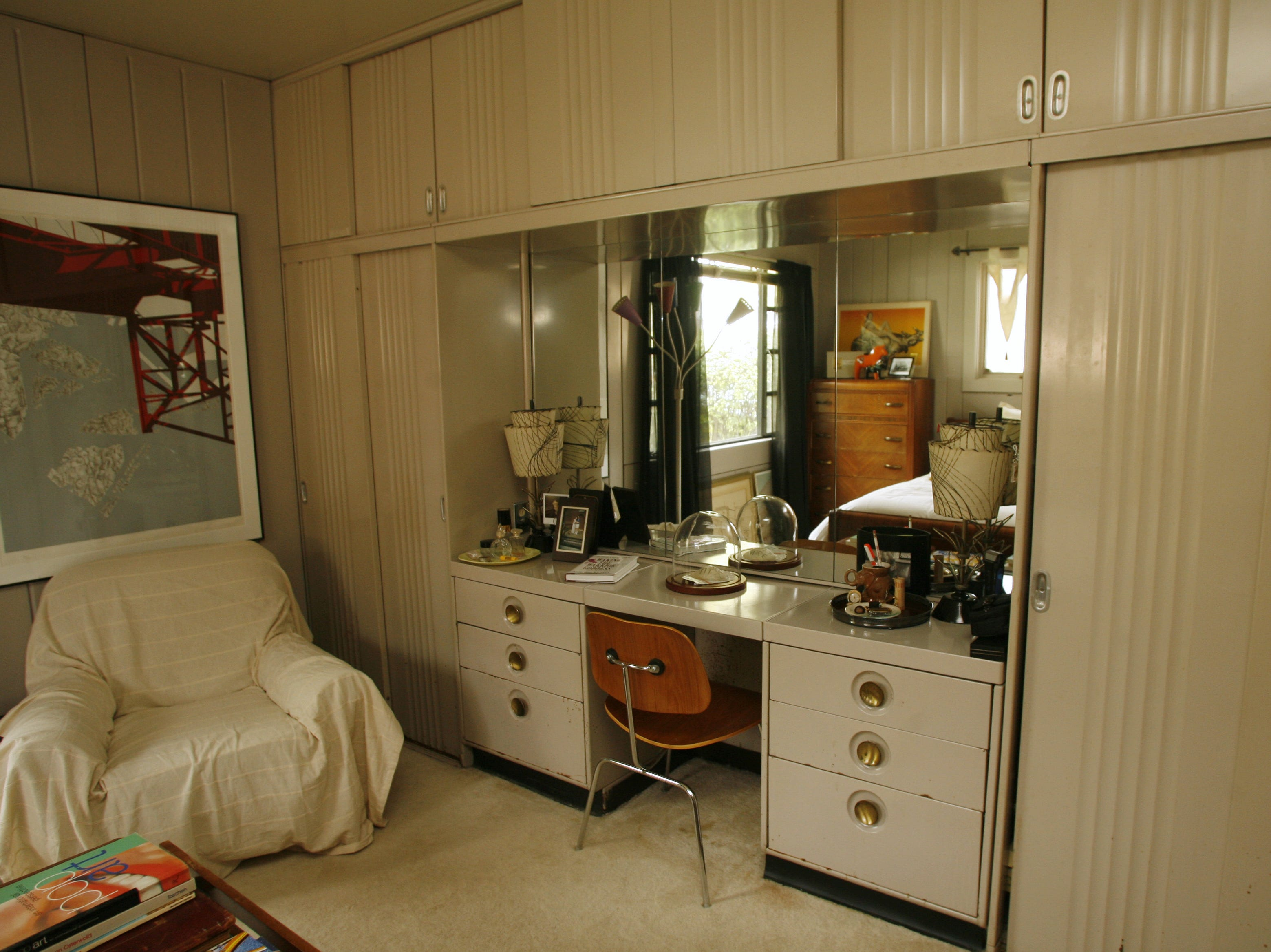 A built-in vanity in Stephanie and Michael O'Neal's Lustron home shown in this file photo from 2006.