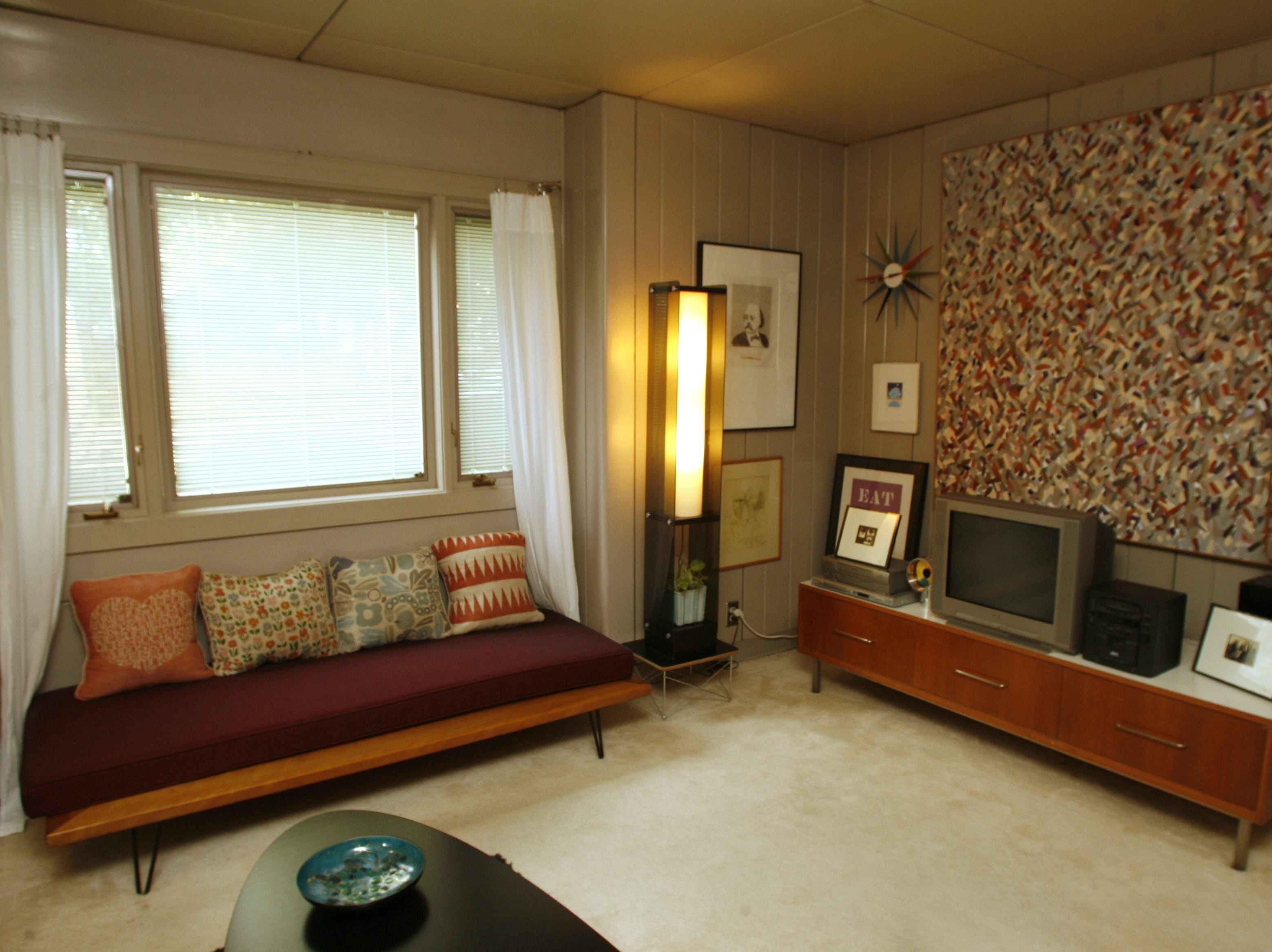 The living room of Stephanie O'Neal and Michael O'Neal's Lustron home.  Des Moines has 15 Lustron homes concentrated on the west side of the city.