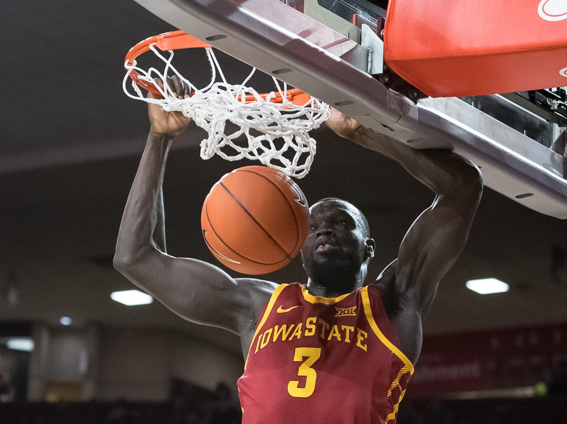 Iowa State Cyclones guard Marial Shayok (3) dunks the ball against the Oklahoma Sooners during the first half at Lloyd Noble Center.