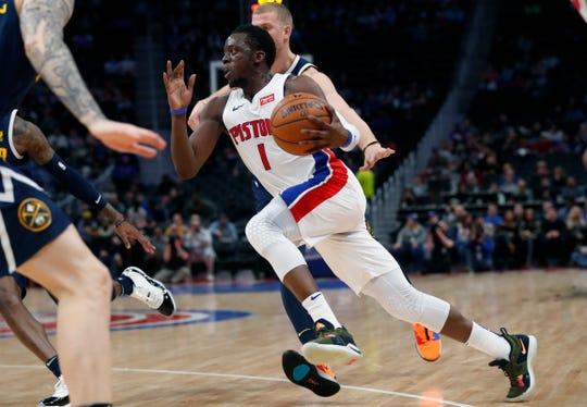 Detroit Pistons guard Reggie Jackson drives against the Denver Nuggets, Feb. 4, 2019, in Detroit.