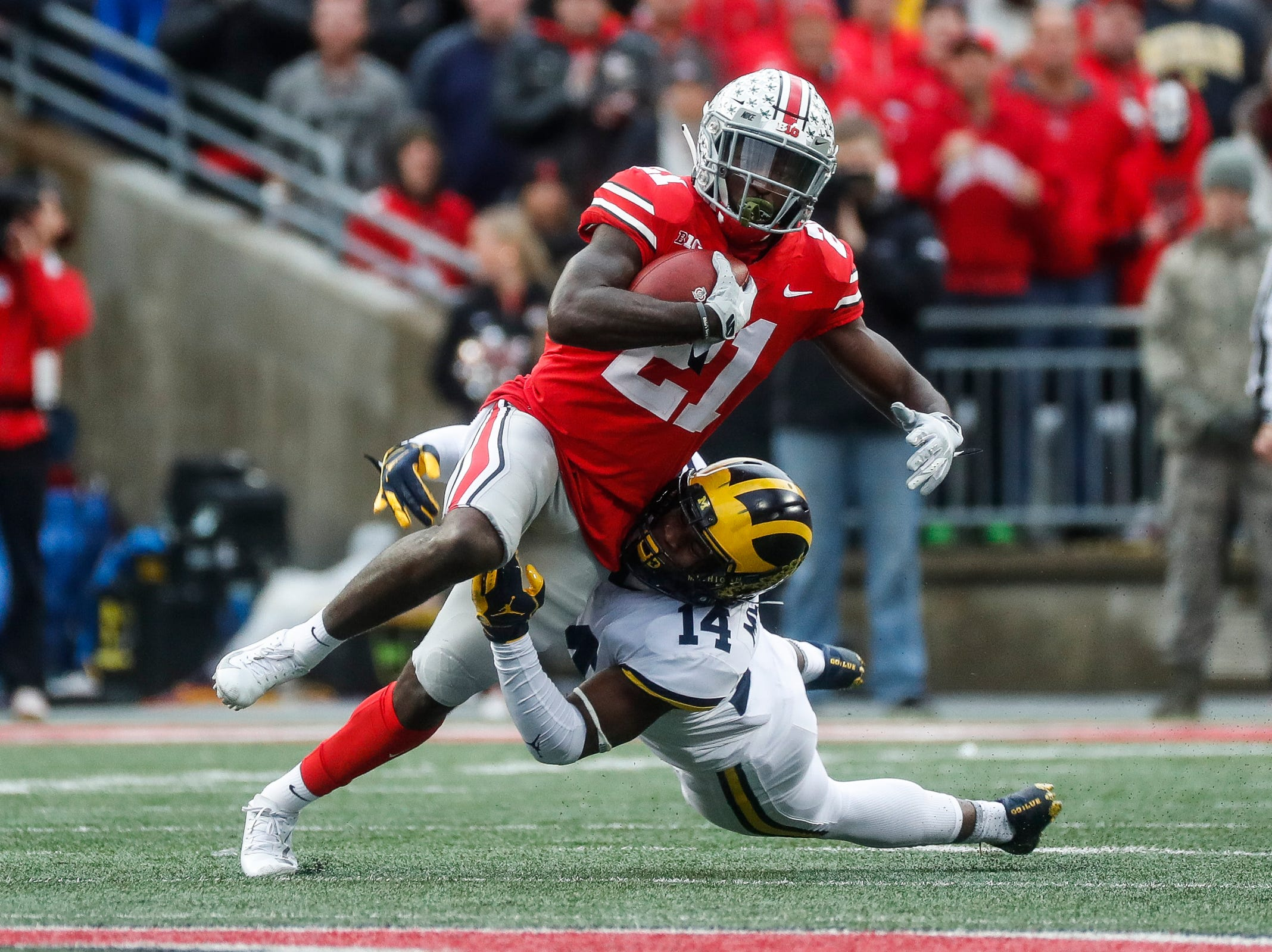 WR Parris Campbell, Ohio State: This isn't a good year to need a receiver as the draft class isn't great, but Campbell was productive playing out of the slot for the Buckeyes and the Lions do need a replacement for Golden Tate.