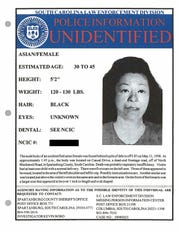 Myoung Hwa Cho is shown on a poster provided by the Spartanburg County, South Carolina, Sheriff's Office. More than 20 years after the bodies of Myoung Hwa Cho, and a 10-year-old boy were found 215 miles apart in separate states beside Interstate 85, investigators now say they were a mother and son and the boy's father has confessed to killing them.