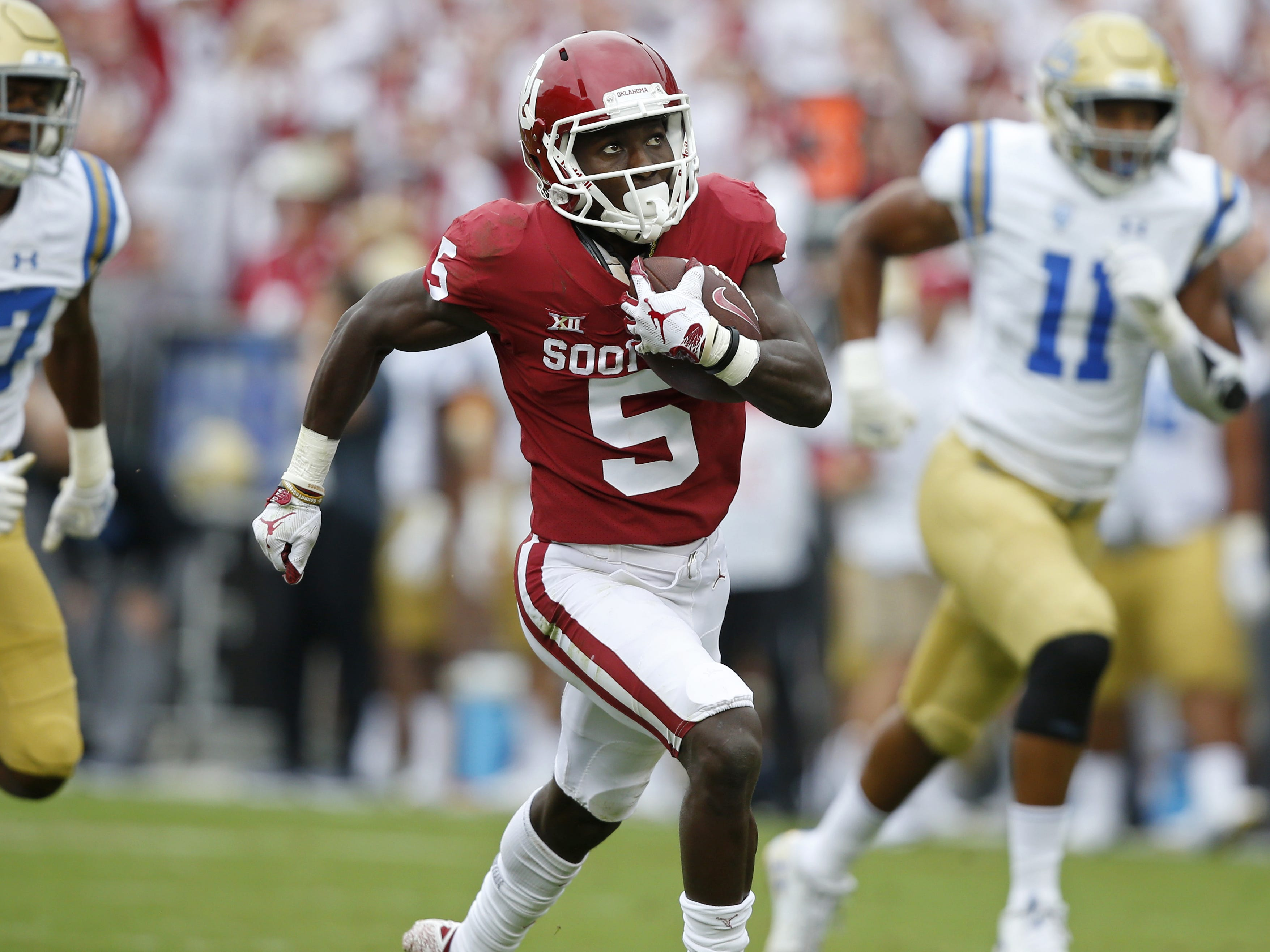 WR Marquise Brown, Oklahoma: The Lions aren't trading for Antonio Brown, but they might have a chance to draft his cousin, Marquise, in Round 2 after he had 75 catches for 1,318 yards this season.