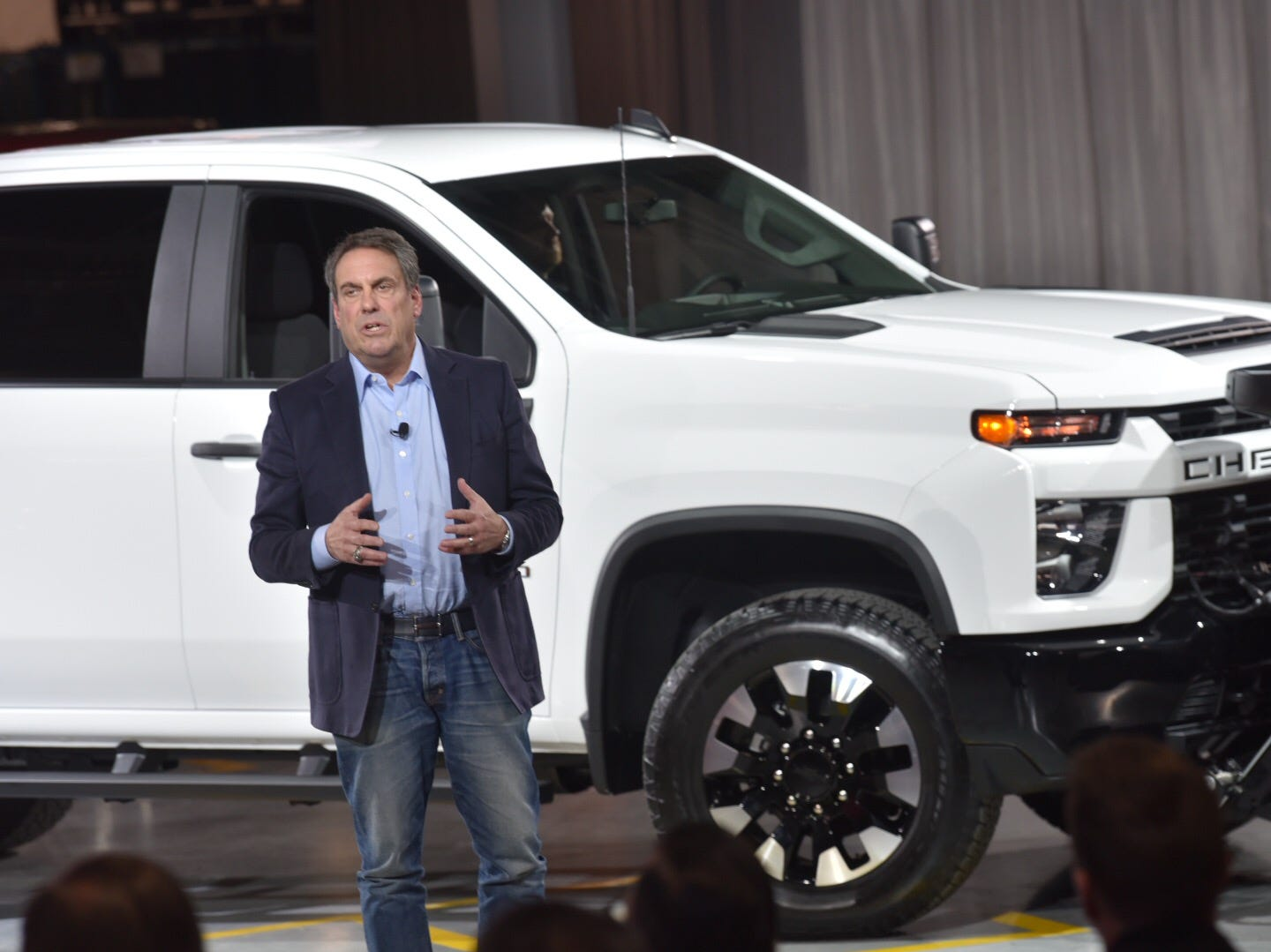 General Motors President Mark Reuss introduces the 2020 Chevrolet Silverado HD pickup truck at GM's Flint Assembly Plant. Chevy's new behemoths will still benefit from the light-duty Silverado's new high-strength steel architecture, but with a new chassis that allows for three more inches of rear legroom.
