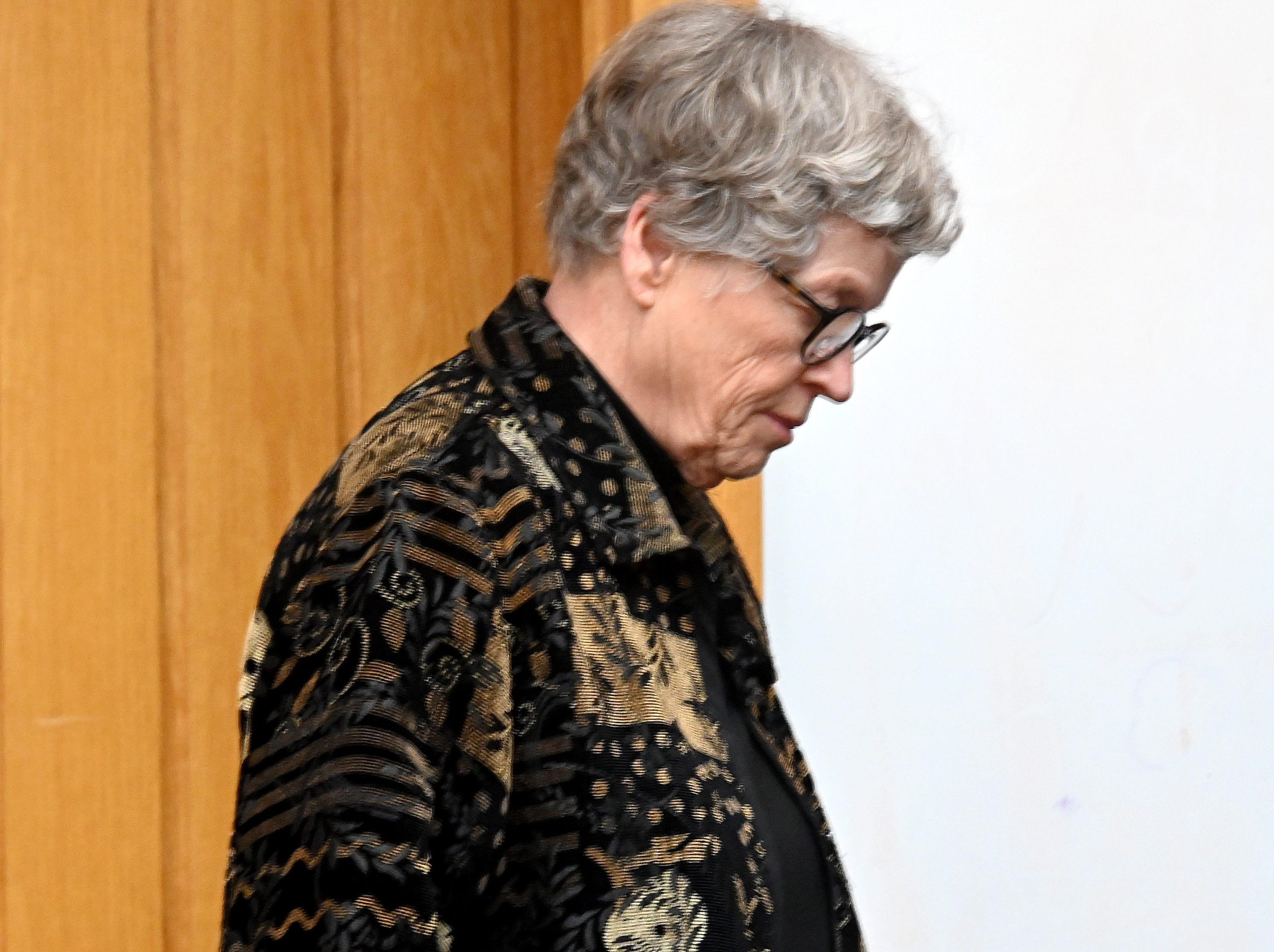 Lou Anna K. Simon arrives for her pretrial hearing.