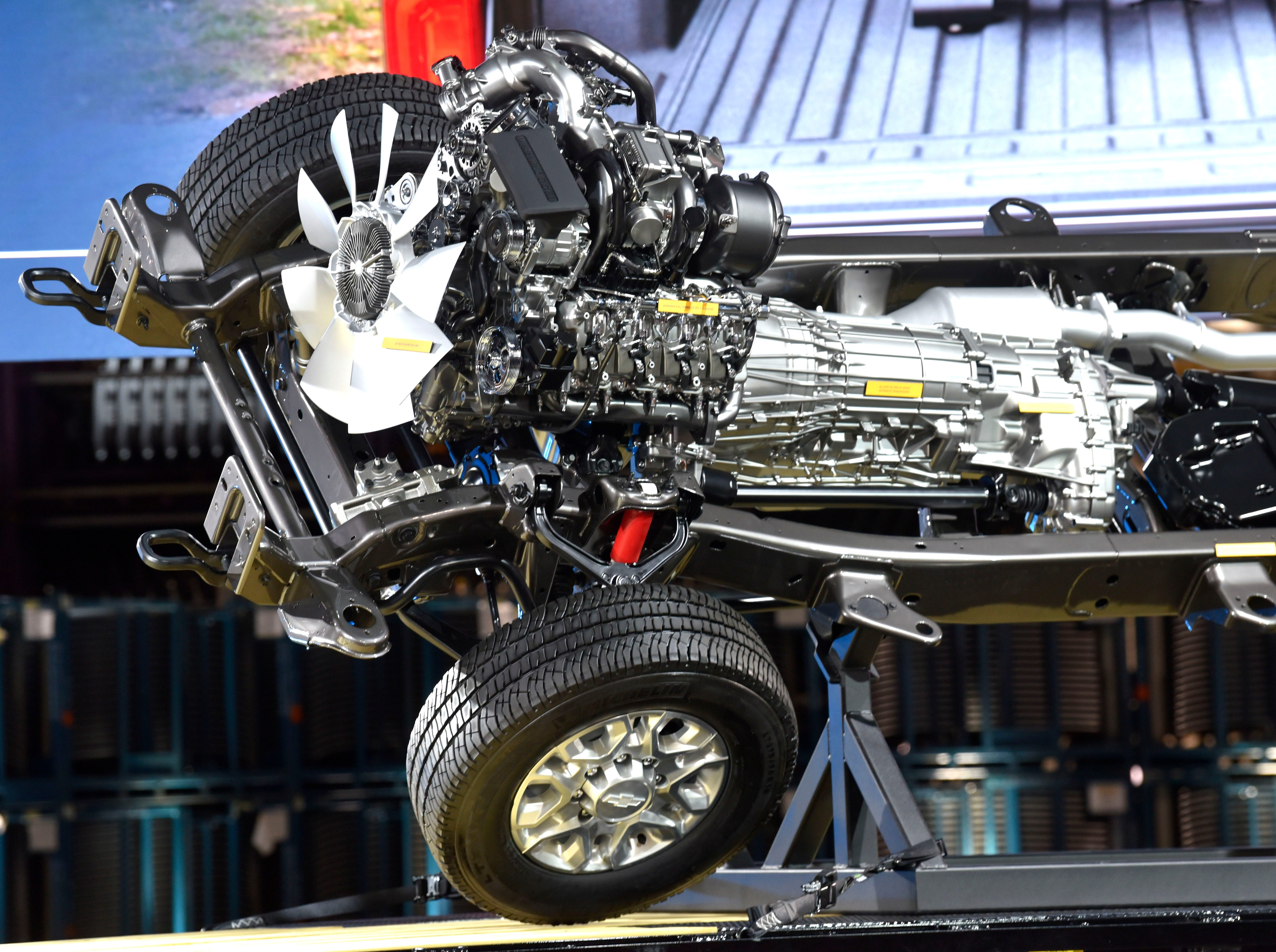 Seen on a rolling chassis, the all-new 6.6-liter gas-powered V-8 Duramax turbo-diesel engine is paired with a 10-speed Allison transmission. The new Silverado Heavy Duty will develop 445 horsepower and 910 pounds-feet of torque.