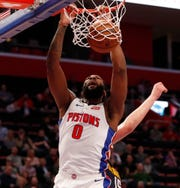 Detroit Pistons center Andre Drummond dunks during the first half Monday. He finished with 27 points and 12 rebounds in Detroit's 129-103 victory over Denver.