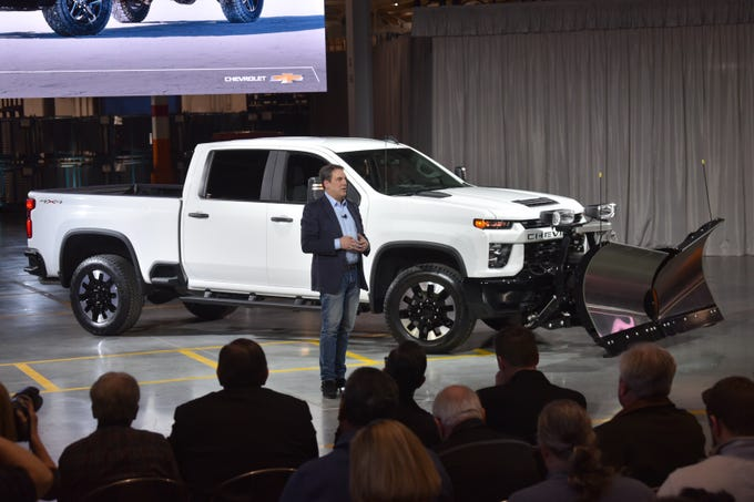 General Motors President Mark Reuss introduces the  2020 Chevrolet Silverado Heavy Duty pickup during an event at GM's Flint Assembly Plant on Tuesday, February 5, 2019.