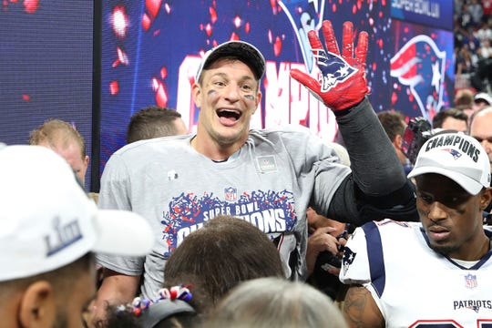 Patriots tight end Rob Gronkowski has been mum on his future, saying his focus is on celebrating. The team's victory parade is Tuesday.