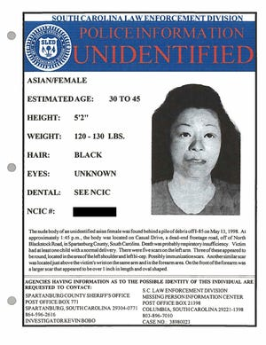 Myoung Hwa Cho is shown on a poster provided by the Spartanburg County, South Carolina, Sheriff's Office.